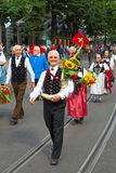 De Zwitserse Nationale parade van de Dag in Zürich Stock Afbeelding