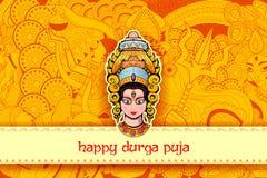 Dea Durga Face nel fondo felice di Durga Puja Fotografie Stock Libere da Diritti