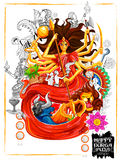 Dea Durga nel fondo felice di Subho Bijoya Dussehra Fotografia Stock