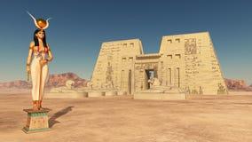 Dea Hathor e tempio di Edfu illustrazione vettoriale