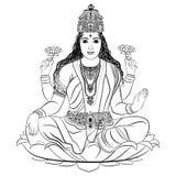 Dea indiana Lakshmi illustrazione di stock