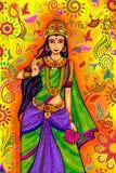 Dea indiana Lakshmi per la celebrazione di festival di Diwali in India Immagine Stock