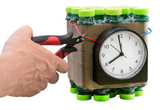 Deactivation of timed bomb. Disposal of dangerous timed bomb on white background. Isolated Stock Photography