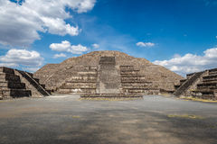 Dead Avenue and Moon Pyramid at Teotihuacan Ruins - Mexico City, City Stock Image