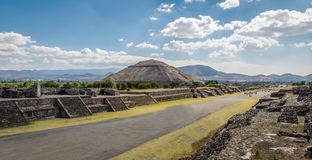 Dead Avenue and Sun Pyramid at Teotihuacan Ruins - Mexico City, Mexico. Dead Avenue and Sun Pyramid at Teotihuacan Ruins in Mexico City, Mexico royalty free stock photography