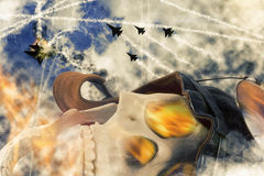 Dead Aviator Skull. Dead flaming aviator skull after dogfight explosion Royalty Free Stock Photography