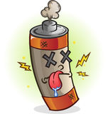 Dead Battery Cartoon Character. A dead used up battery cartoon character with his tongue sticking out Stock Images