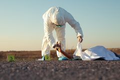 Free Dead Body After Murder At The Scene After Forensics By The Police. Royalty Free Stock Images - 161138749