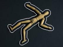 Dead body : chalk outline. Mock crime scene forensics: dead body with chalk outline Royalty Free Stock Photography