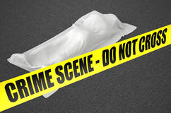 Dead body covered with white cloth Royalty Free Stock Photo