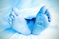 Dead body with a toe tag with the text happy halloween Stock Photo