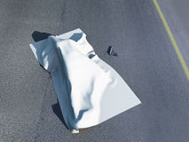 Dead body under a homicide cloth Royalty Free Stock Photo