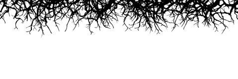 Dead Branch Panorama Banner - Silhouette. Horizontal Vector Background royalty free illustration