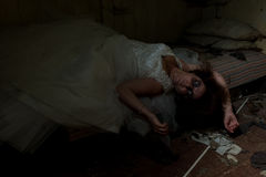 Dead bride in bed Stock Photography