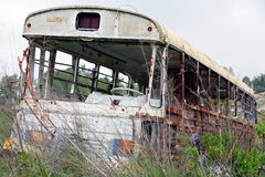 Dead bus. Thrown in the wood Royalty Free Stock Photo