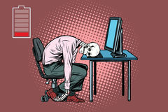 Dead businessman skeleton at the computer. Pop art retro vector illustration Stock Image
