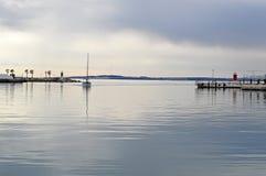 Dead Calm-Glassy Sea Sailing Yacht Boat Royalty Free Stock Photos