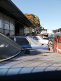 Dead cars in the parking lot stock images