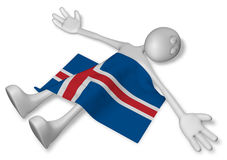 Dead cartoon guy and flag of iceland Stock Images