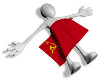 Dead cartoon guy and flag of the soviet union Royalty Free Stock Photo