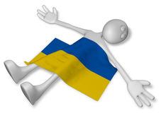 Dead cartoon guy and flag of the ukraine Royalty Free Stock Image