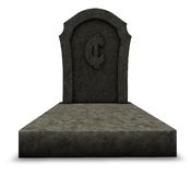 Dead cent. Gravestone with cent symbol on white background - 3d illustration Royalty Free Stock Photography