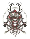 Dead chief badge. Vector illustration of a dead Indian chief in a headdress of feathers and attributes of power Stock Photo