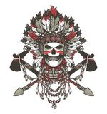 Dead chief badge. Vector illustration of a dead Indian chief in a headdress of feathers and attributes of power Royalty Free Stock Images
