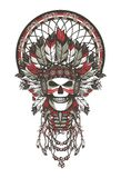Dead chief badge. Vector illustration of a dead Indian chief in a headdress of feathers and attributes of power Royalty Free Stock Image