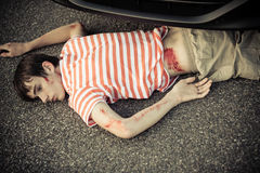 Dead child hurt in a car accident Royalty Free Stock Photo