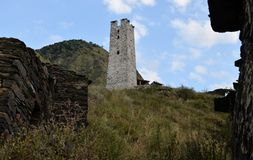Dead city. Chechen Republic. Itum-Kale district. The Argun gorge. Russia.  royalty free stock image