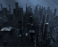 Dead city. Gloomy landscape with dead city, pollution Stock Photo
