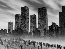 Dead city. Gloomy landscape with dead city, pollution Royalty Free Stock Photos