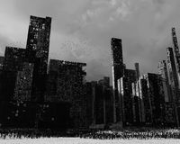 Dead city. Gloomy landscape with dead city, pollution Royalty Free Stock Photo