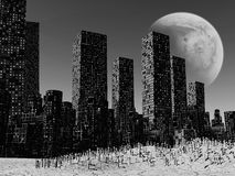 Dead city. Gloomy landscape with dead city, pollution Stock Image