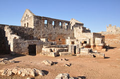 Dead city of Serjilla, Syria. Serjilla is one of the Dead Cities in Syria. Two-storey tavern. Unique among Roman / Byzantine ruins stock images