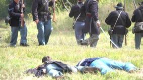 Dead Civil War soldiers on battlefield. View of Dead Civil War soldiers on battlefield stock video footage