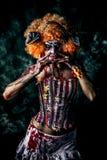 Dead clown. Bloody scary clown. Halloween. Horror stock image