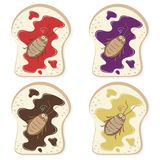 Dead Cockroach on Bread. Vector illustration cartoon. Strawberry, blueberry, chocolate, and butter jam on bread with dead cockroach. Funny pastel cockroach vector illustration