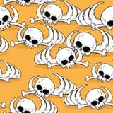 Dead desert seamless pattern. Remains of skeleton in sand backgr Royalty Free Stock Image