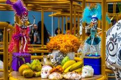 Dead Dia de los Muertos Decoration -墨西哥城,墨西哥的天 免版税库存图片