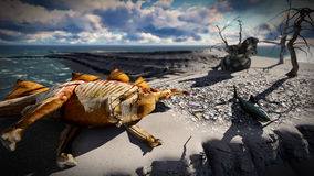 Dead dinosaurs on island. Dinosaur doomsday Stock Image