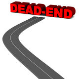 Dead end. Road hitting a dead end on white background, black road leading to red text Stock Photos