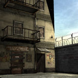 Dead End Alley Scene. 3D Render of an Dead End Alley Scene Royalty Free Stock Photography
