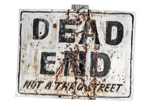 Dead End. Creepy dead end rusty old sign isolated against white Royalty Free Stock Photos