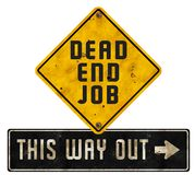 Dead End Job Sign Logo Art Way Out Grunge. Metal tin rustic vintage old weathered rusted arrow opportunity royalty free stock photo