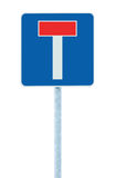 Dead end no through road traffic sign, isolated roadside T signage on pole post signpost signboard, blue, red, large detailed. Closeup Royalty Free Stock Photo