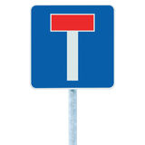 Dead end no through road traffic sign, isolated roadside T signage, pole post signpost signboard, blue, red large detailed closeup. Dead end no through road Stock Images