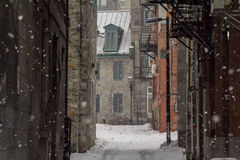 Dead-end in Old-Montreal in winter under the snow Royalty Free Stock Photos
