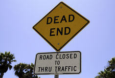 Dead end road sign. A dead end road sign stock photos